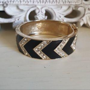 Ann Taylor Black Crystal Gold Tone Cuff Bracelet